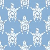 Sea Turtles.  Seamless Vector pattern.