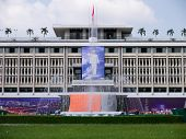 Preparing for 39th independence celebration at Independence Palace, Vietnam