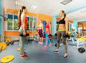 Young women exercising in the gym class