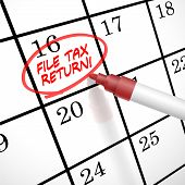 stock photo of self assessment  - file tax return words circle marked on a calendar by a red pen - JPG