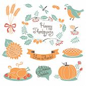 pic of thanksgiving  - Happy Thanksgiving set of elements for design - JPG
