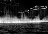Bellagio Fountain at night in Las Vegas