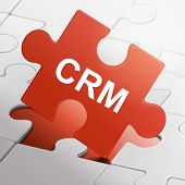 Crm Word On Red Puzzle Pieces