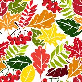 Autumn leaves seamless pattern. Flat style