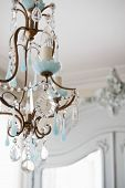 Closeup of glass and metalworked chandelier