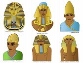 picture of pharaohs  - A set of 6 ancient egyptian pharaoh illustrations including Tutankhamun - JPG