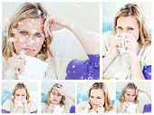 Collage of a young sick woman against snow