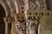 Closeup Of Romanesque Archivolts And Capitals