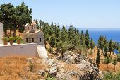 Church With Beautiful Sea View On Crete Island, Greece