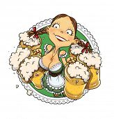 Oktoberfest girl with glass of beer. Eps10 vector illustration. Isolated on white background