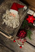 Vintage Christmas Decoration With Antique Toys