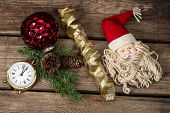 Vintage Christmas Decoration With Antique Toy Santa Claus