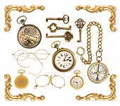 Collectible Accessories. Antique Keys, Clock, Compass, Corner