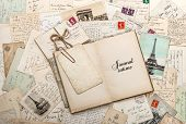 foto of intimate  - open empty diary book old letters french postcards - JPG