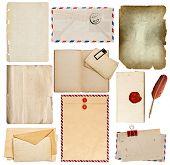 Set Of Old Paper Sheets, Book, Envelope, Card