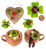 picture of red clover  - wooden heart with symbols of luck - JPG