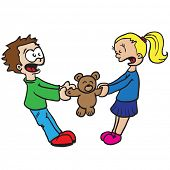 boy and girl fighting over toy