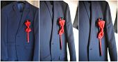 Wedding ultramarine suit and red bow. Formal groom suit with red bow-tie. Elegant blue groom's suit