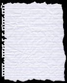 picture of lined-paper  - A piece of torn lined writing paper from a wire bound notebook - JPG