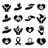 Charity and Donation Icons Black