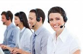 Positive Customer Service Agents Working In A Call Center