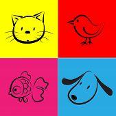 stock photo of bird-dog  - vector pet icon set about cat - JPG