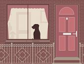 Illustration of a dog looking out of a house window
