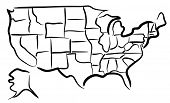 Illustrated sketch of the states in the USA