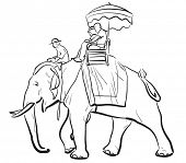 Illustrated sketch of tourists riding on an Asian elephant with mahout