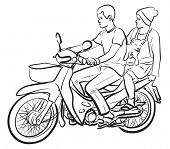 Illustrated sketch of two people and a puppy on a motorcycle