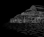 Illustration sketch of waterside wooden buildings