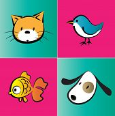 picture of bird-dog  - vector pet icon set about cat - JPG