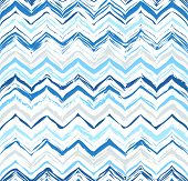 Colorful Stripes Seamless Zigzag Pattern. Abstract Background With Hand Drawn Stripes. Vector Waterc