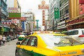 Typical Taxi ride in chinatown area of Bangkok Thailand