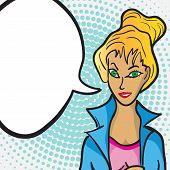 Pop Art Woman Face With Comic Speech Bubble
