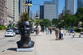 On The Street Near The Famous Grant Park In Chicago In Sunny Day.