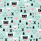 Seamless Christmas time geometric pastel Scandinavian style owl bear fox illustration background pattern in vector