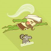 Coffee man character flying to the rescue
