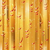 Red paper streamers seamless over golden background