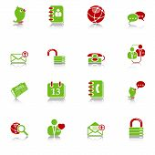Social media & blog icons, green-red series