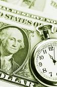 Clock and cash. Time is money