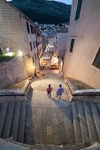 DUBROVNIK, CROATIA - MAY 28, 2014: Aerial view of the stairs leading to Jesuit chuch in old town Dub
