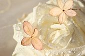White Fresh Rose With Dew Drops And Hydrangea Blossom