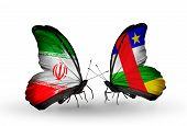 Two Butterflies With Flags On Wings As Symbol Of Relations Iran And Central African Republic
