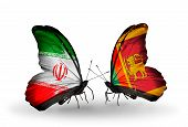 Two Butterflies With Flags On Wings As Symbol Of Relations Iran And Sri Lanka