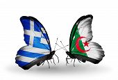 Two Butterflies With Flags On Wings As Symbol Of Relations Greece And Algeria