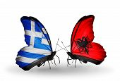 Two Butterflies With Flags On Wings As Symbol Of Relations Greece And Albania