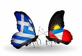 Two Butterflies With Flags On Wings As Symbol Of Relations Greece And Antigua And Barbuda