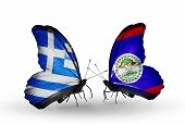 Two Butterflies With Flags On Wings As Symbol Of Relations Greece And Belize