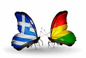 Two Butterflies With Flags On Wings As Symbol Of Relations Greece And Bolivia